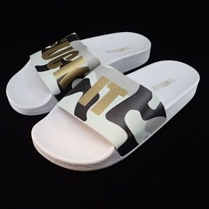 The White Brand F*ck It Camo Mint Sandals 36 - New